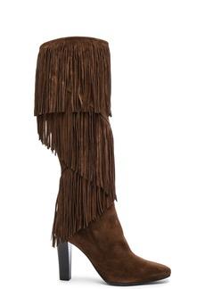 Saint Laurent Suede Lily Fringe Boots