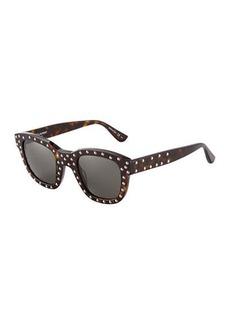 Yves Saint Laurent Saint Laurent Surf Plastic Round Studded Sunglasses