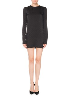 Saint Laurent Swiss Dot Long-Sleeve Shift Dress
