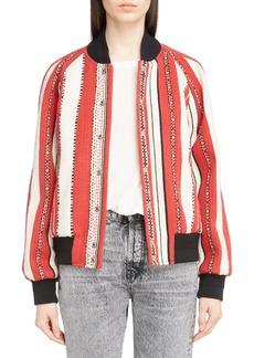 Yves Saint Laurent Saint Laurent Tapestry Wool Blend Teddy Jacket