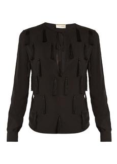 Yves Saint Laurent Saint Laurent Tasselled-front tie-neck blouse