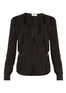 Saint Laurent Tasselled-front tie-neck blouse
