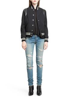 Yves Saint Laurent Saint Laurent 'Teddy' Black Leather Trim Bomber Jacket