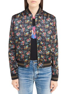Yves Saint Laurent Saint Laurent Teddy Floral Satin Bomber Jacket