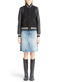 Yves Saint Laurent Saint Laurent 'Teddy' Full Leather Sleeve Bomber Jacket