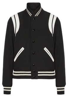 Yves Saint Laurent Saint Laurent Teddy leather-trimmed wool-blend bomber jacket