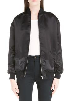 Yves Saint Laurent Saint Laurent 'Teddy' Oversize Patch Satin Bomber Jacket
