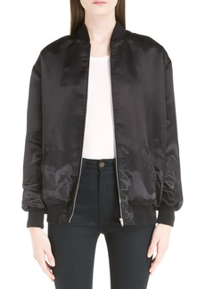 Yves Saint Laurent Saint Laurent 'Teddy' Oversize Patch Satin Bomber Jacket