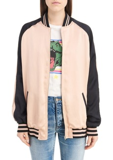 Yves Saint Laurent Saint Laurent Teddy Oversize Satin Bomber Jacket