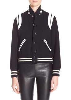 Yves Saint Laurent Saint Laurent 'Teddy' White Leather Trim Bomber Jacket