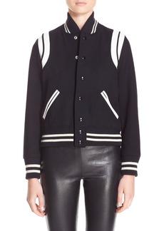 Yves Saint Laurent Saint Laurent 'Teddy' White Leather Trim Bomber Jacket