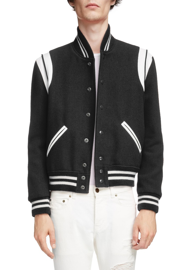 a055e538400 Yves Saint Laurent Saint Laurent Teddy Wool Varsity Jacket | Outerwear