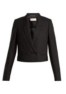 Saint Laurent Textured-wool cropped jacket