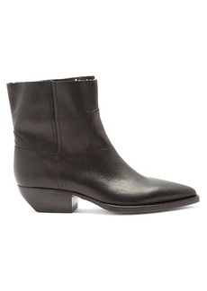 Saint Laurent Theo raw-edge leather ankle boots