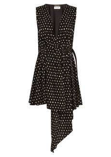 Saint Laurent Tie-neck polka-dot print dress
