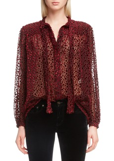 Saint Laurent Tie Neck Sheer Blouse