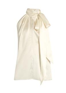 Yves Saint Laurent Saint Laurent Tie-neck silk-satin sleeveless blouse