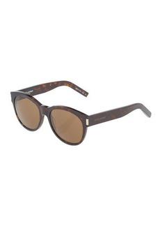 Yves Saint Laurent Saint Laurent Tortoiseshell Round Plastic Sunglasses