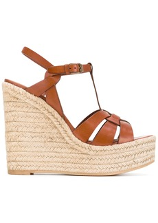 Yves Saint Laurent Saint Laurent Tribute espadrille wedge sandals - Brown
