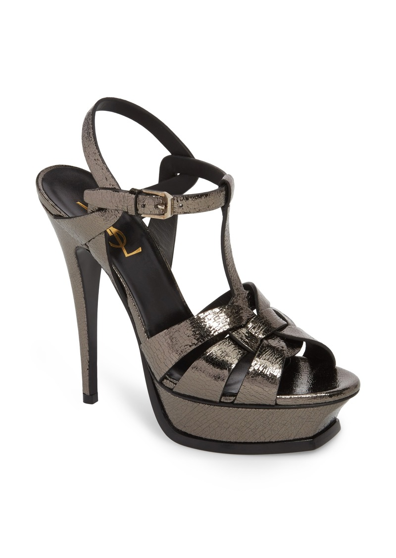 4b45dd8b4a178e Saint Laurent Saint Laurent Tribute Metallic Platform Sandal (Women ...