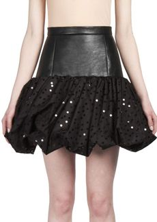 Yves Saint Laurent Saint Laurent Tulle Pouf-Hem Leather Skirt