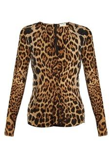 Yves Saint Laurent Saint Laurent V-neck leopard-print silk blouse