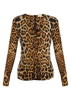 Yves Saint Laurent Saint Laurent V-neck leopard-print silk blouse