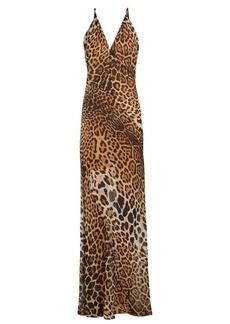 Yves Saint Laurent Saint Laurent V-neck leopard-print silk dress