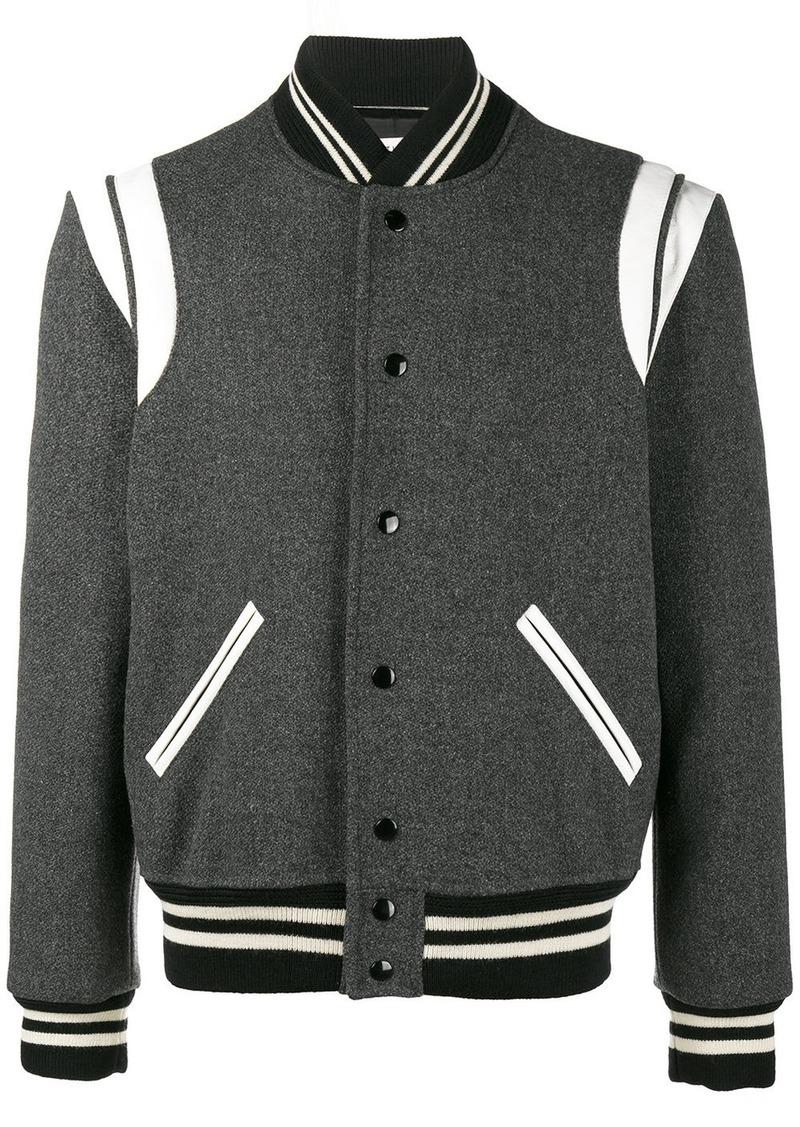 0952d6e61c7 Yves Saint Laurent Saint Laurent Varsity bomber jacket - Grey ...