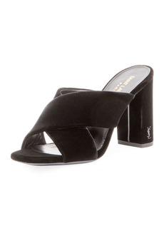 Yves Saint Laurent Saint Laurent Velvet Block-Heel Mule Sandal
