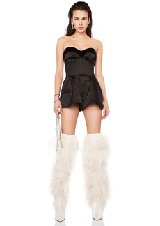 Yves Saint Laurent Saint Laurent Velvet Trim Satin Strapless Romper