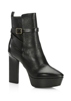 Yves Saint Laurent Saint Laurent Vika Buckled Leather Platform Booties