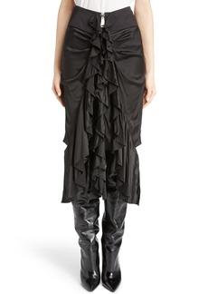 Saint Laurent Washed Silk Satin Ruffle Skirt