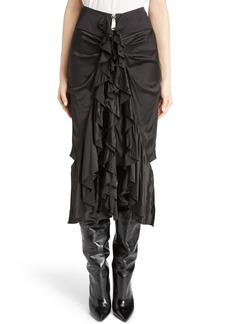 Saint Laurent Washed Silk Satin Ruffle Skirt