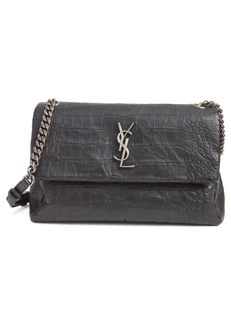 a0c330fd1 Saint Laurent 'West Hollywood' Croc Embossed Lambskin Leather Messenger Bag.  '