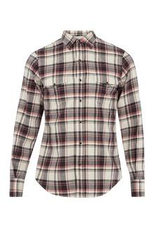 Yves Saint Laurent Saint Laurent Western checked cotton-blend shirt