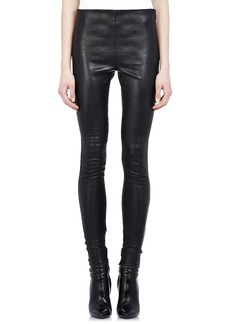 Saint Laurent Women's Ankle-Zip Leather Leggings