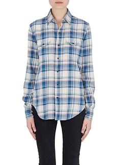 Saint Laurent Women's Checked Cotton-Blend Flannel Western Shirt
