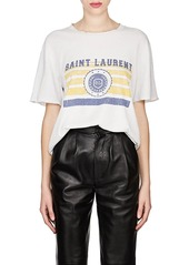 Saint Laurent Women's Collegiate-Print Cotton Oversized T-Shirt