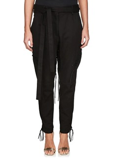 Saint Laurent Women's Cotton-Linen Twill Lace-Up Pants