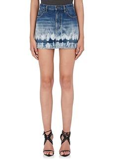 Yves Saint Laurent Saint Laurent Women's Distressed Tie-Dyed Denim Miniskirt