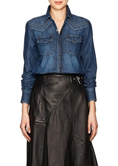 Saint Laurent Women's Embroidered Cotton Chambray Shirt