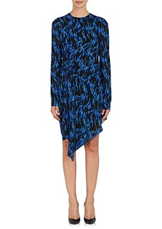 Saint Laurent Women's Flame-Print Gathered Crepe Dress