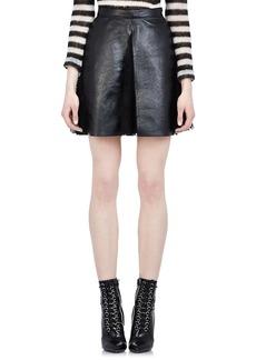 Yves Saint Laurent Saint Laurent Women's Leather & Lace Pleated Skirt