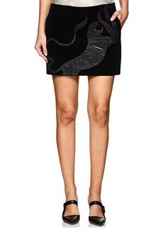 Yves Saint Laurent Saint Laurent Women's Leather Tiger-Patch Corduroy Miniskirt