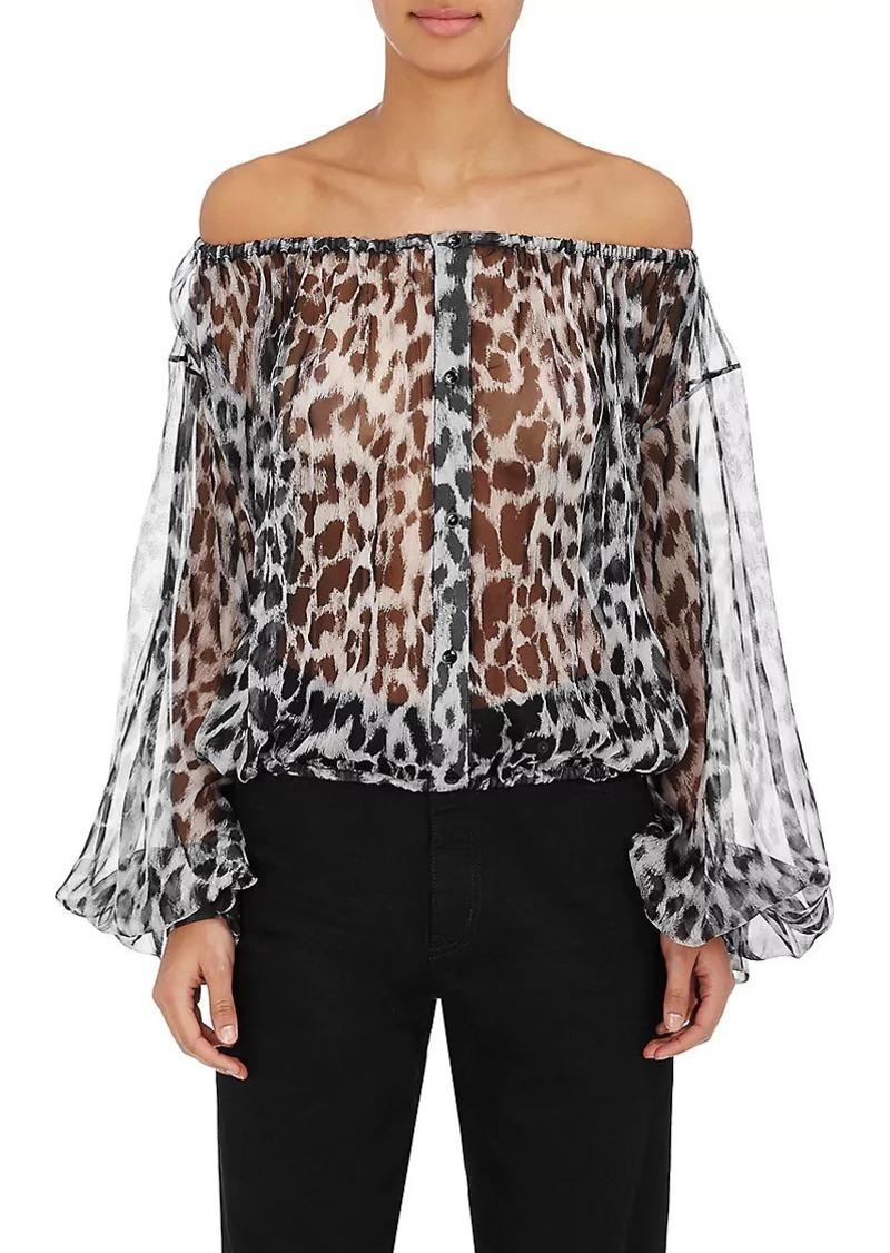 956e7bf06091 SALE! Saint Laurent Saint Laurent Women's Leopard-Print Silk Blouse