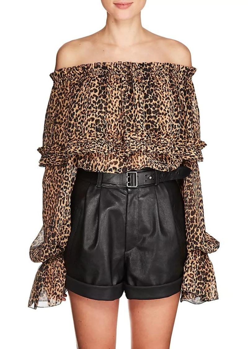 f336ee21ab8b Saint Laurent Saint Laurent Women's Leopard-Print Silk Off-The ...