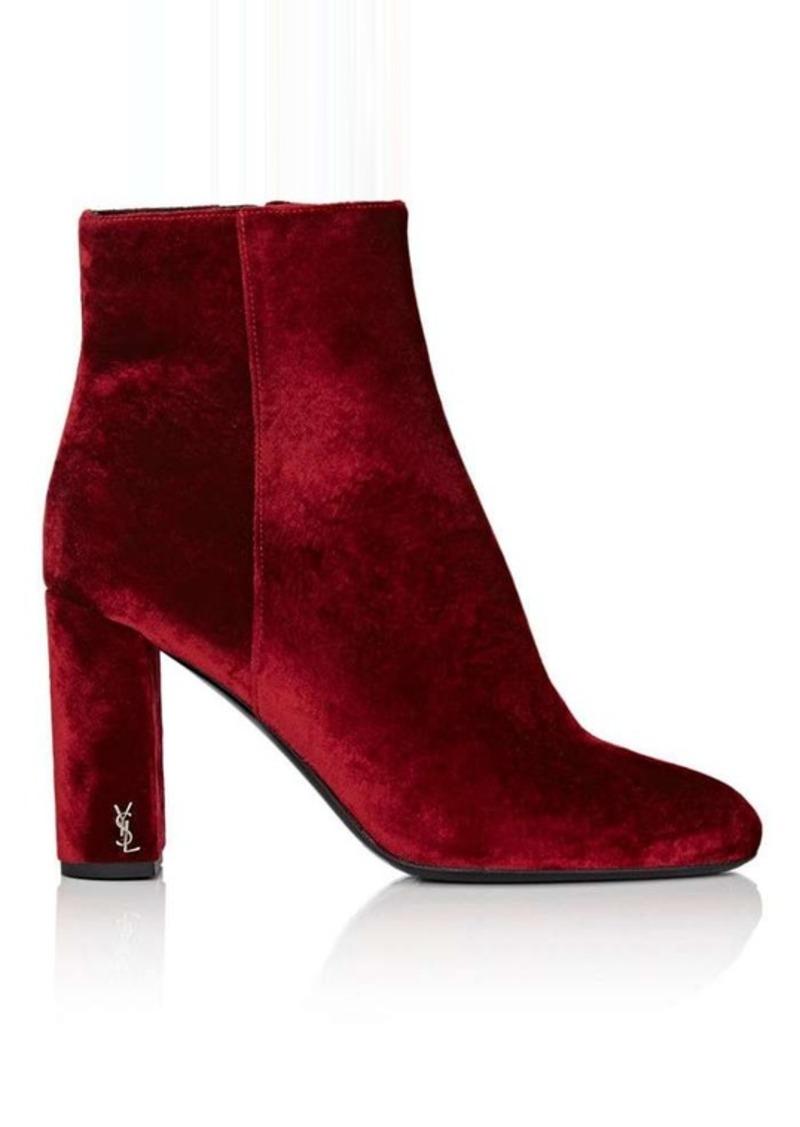 Saint Laurent Women's Loulou Velvet Ankle Boots