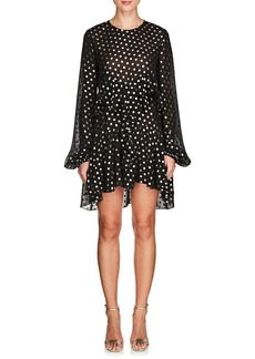 Saint Laurent Women's Polka Dot Chiffon Peplum Dress