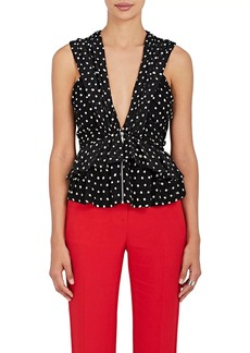 Saint Laurent Women's Polka Dot Silk Georgette Peplum Top